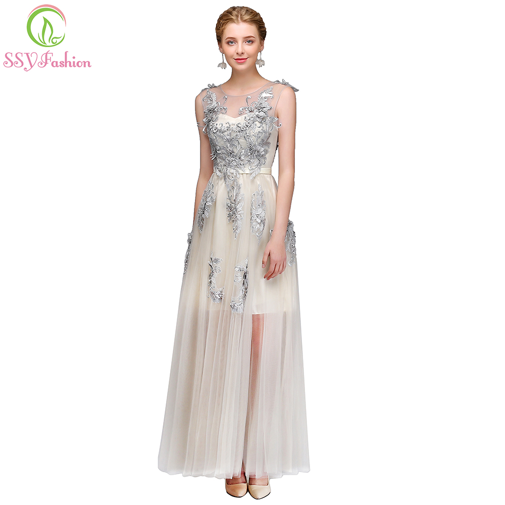 c380b92c92 US $58.0 |2017 New Evening Dress SSYFashion Light Grey Lace Flower Tulle  Long Prom Dress Banquet Elegant Formal Party Gown Robe De Soiree-in Evening  ...