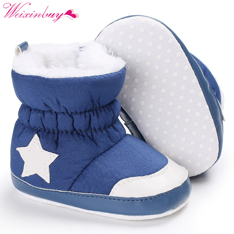 Infant Toddler First Walkers Five Star Pattern Snowfield Snow Boots Booty Newborn Baby Unisex Kids Winter Shoes Crib Bebe
