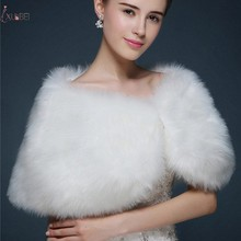 New White Faux Fur Women Wedding Bridal Bolero Wrap Shawl Cape Stole Coat Jacket Wedding Accessories blue flower girl faux fur cape child kid winter jacket hooded wrap bolero with hand muff evening prom coat outwear cloaks