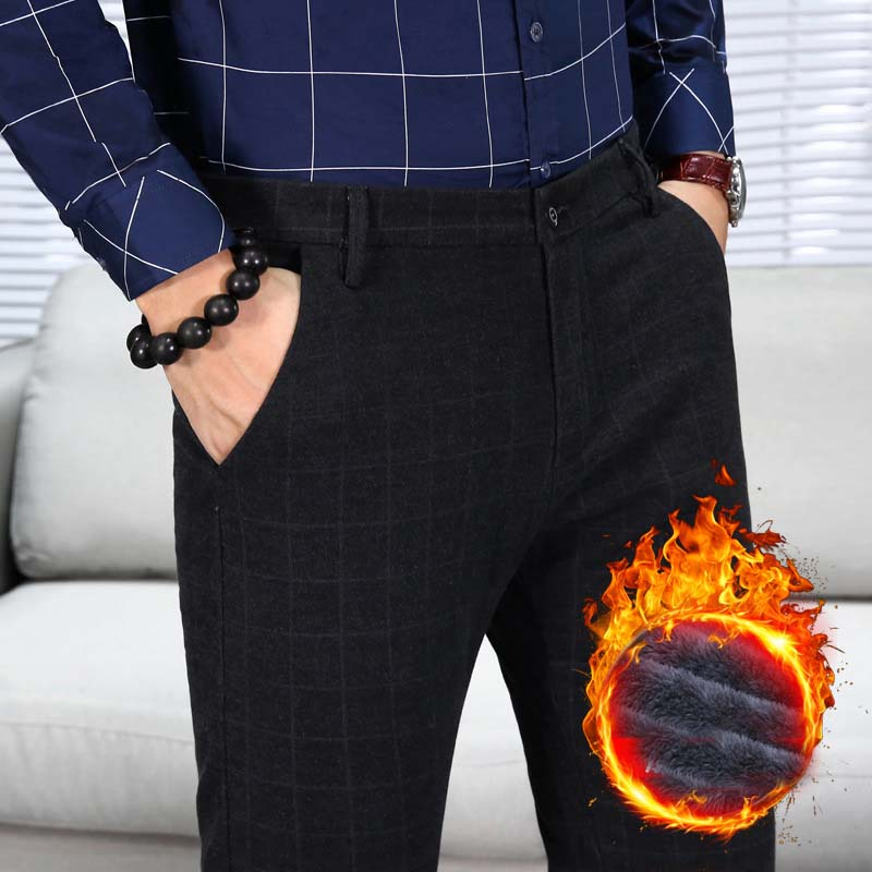 2018 Mens Winter Fleece Pants Korean Casual Slacks Slim Warm Pants For Men Black Gray Trousers