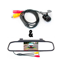 Car Rearview Parking Camera with 4.3 Inch TFT LCD Backview Mirror Monitor For Auto Parking Reversing Backup Parktronic System цена 2017
