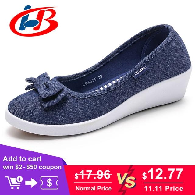 LIBANG Женская обувь на платформе высокого качества, женские туфли-лодочки  на танкетке, be6cdb4e290