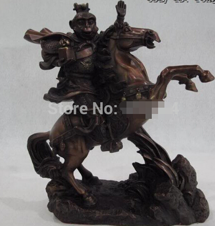 """free shipping   11"""" Chinese Red Bronze Copper Feng Shui Monkey Hold chop Ride on Horse Statue"""
