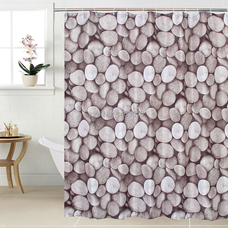 Happy Tree Fabric Polyester Pebble Stone Shower Curtain Waterproof Bathroom Curtain Gray Bath Curtain Size 180x180cm