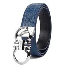 Crocodile Pattern Genuine Leather Pin Buckle Men's Belt
