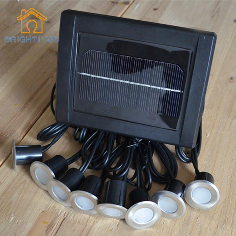 Solar Power LED Deck Lights Floor Lamp Stair Light IP67 Outdoor Waterproof Underground Lighting 8 Lamps+1 Solar Panel Step Light
