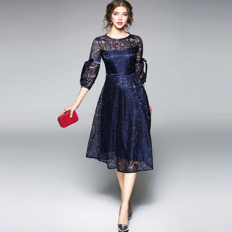 SymorHouse 2018 New Plus Size O-neck Lantern Sleeve Hollow Out Blue Lace Dresess Big Swing Tunic Women Party Dress with Lining