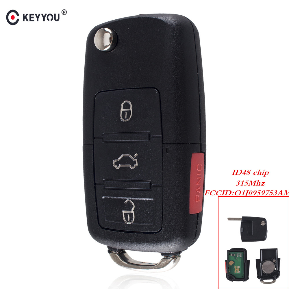 KEYYOU For VW Volkswagen Beetle CC Golf Jetta Passat GTI Flip Key Car Remote Key Entry Transmitter Fob 4 Button 315Mhz 48 Chip 5pcs high quality compatible remote transmitter key fob for cardin s449 qz 2 qz 4