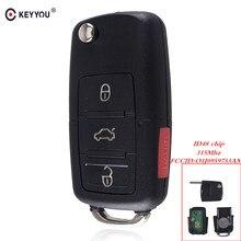 Keyyou para vw volkswagen beetle cc golf jetta passat gti aleta chave do carro remoto chave de entrada transmissor fob 4 botão 315 mhz 48 chip