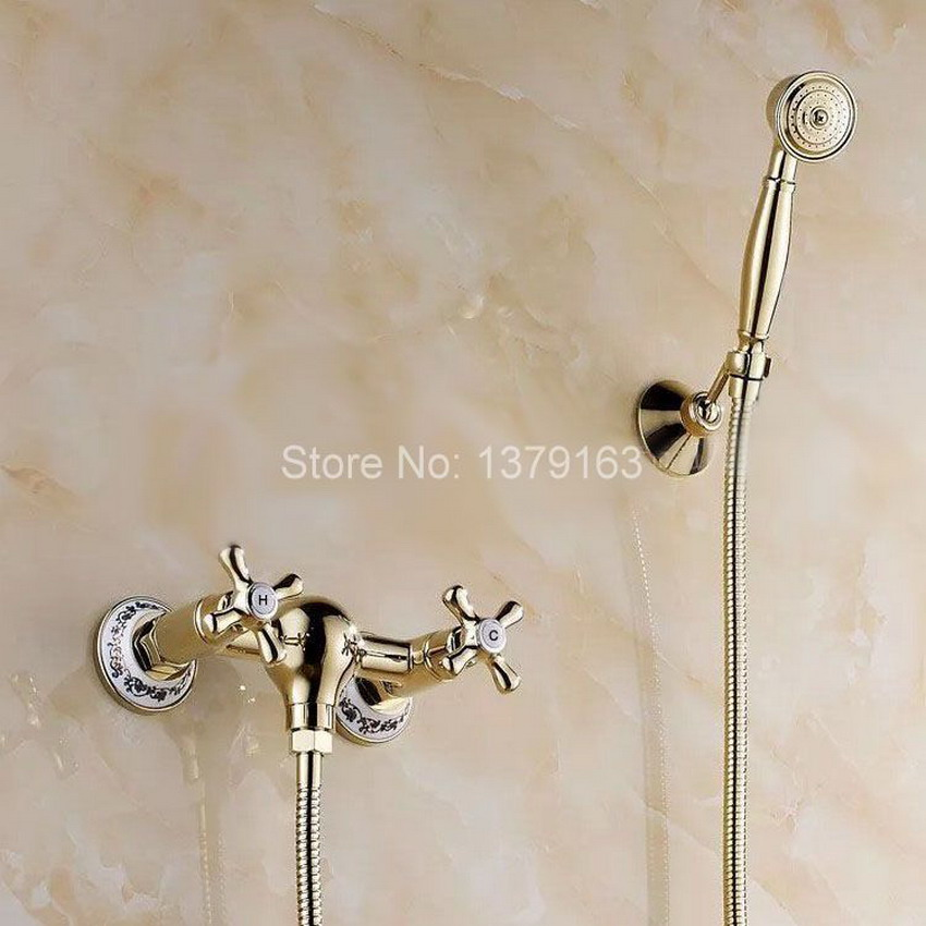 Luxury Gold Polished Brass Double Handle Wall Mounted Bathroom Telephone  Style Hand Held Shower Head Faucet