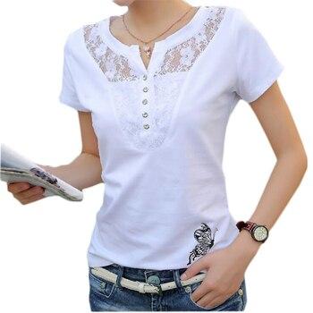 Summer T-shirt Women Casual Lady Top Tees Cotton White Tshirt Female Brand Clothing T Shirt Top Tee Plus Size 4XL