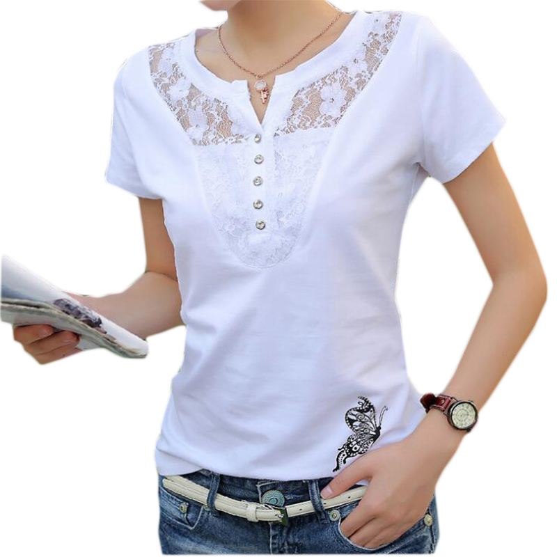 Summer T-shirt Women Casual Lady Top Tees Cotton White Tshirt Female Brand Clothing T Shirt Top Tee Plus Size 4XL