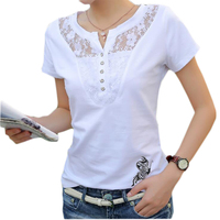 Summer T Shirt Women Casual Lady Top Tees Cotton White Tshirt Female Brand Clothing T Shirt