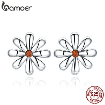 Authentic 925 Sterling Silver Daisy Flower Whisper Stud Earrings for Women