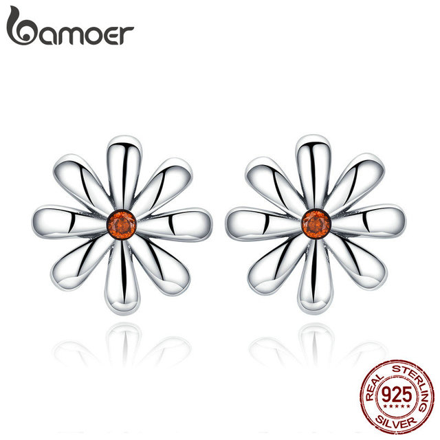 Us 4 99 30 Off Aliexpress Bamoer Authentic 925 Sterling Silver Daisy Flower Whisper Stud Earrings For Women Simple Fashion