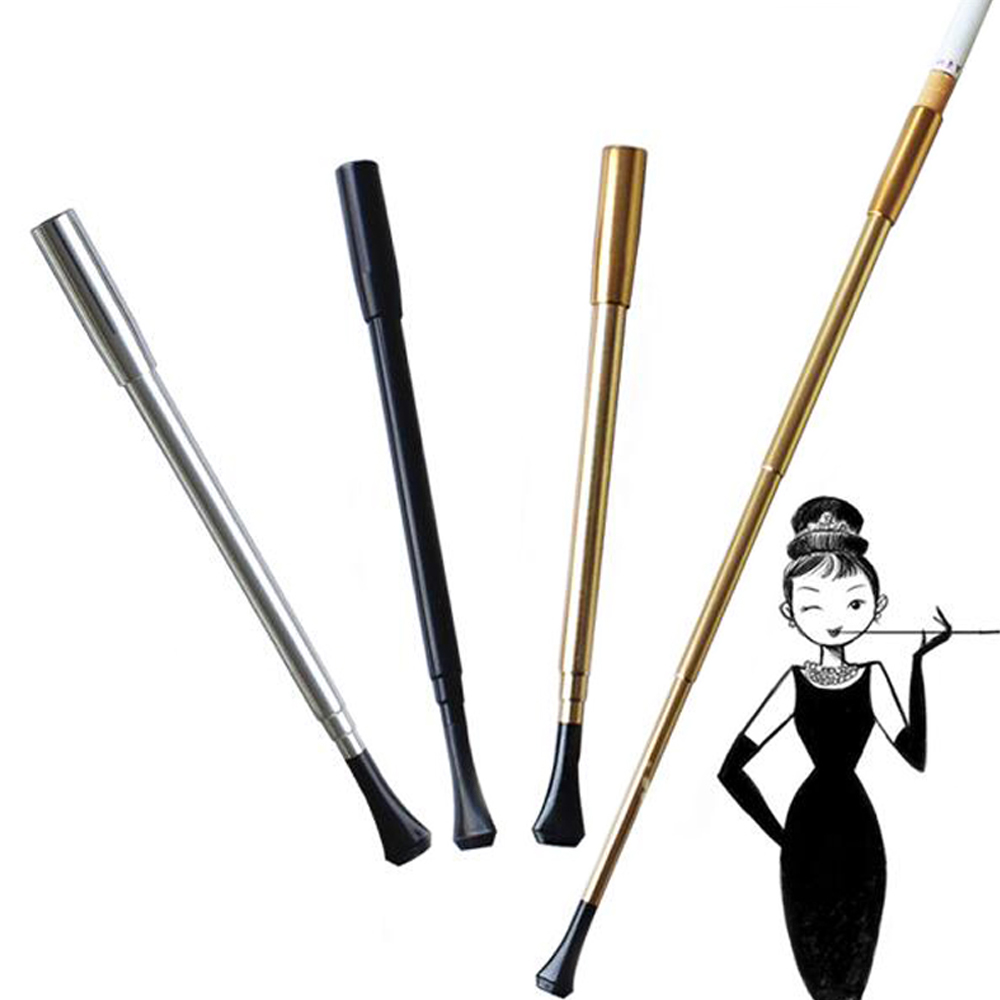 Women's Series Retractable Vintage Cigarette Holder Metal Smoking Pipe Photography Props