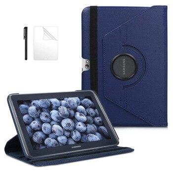 360 obrotowy biznes PU skórzane etui ze stojakiem pokrywa dla Samsung Galaxy Note 10.1 N8000 N8010 N8020 (GT-N8000) pokrowiec na tableta + Film + długopis