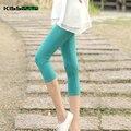KISSyuer Doce cor Meados de bezerro de algodão Capri calças Cortadas calças de Verão fina meia leggings legins Mulheres leggings curtos KL113