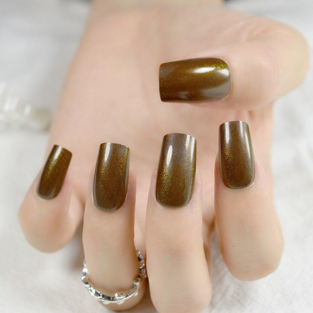 Coffee Brown Pre designed Nails Glitter Decoration Medium Acrylic ...