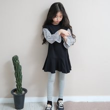2017 Newest Girls Dresses Vestidos Children's Clothing Cute Black Striped Frocks Design for Age 5678910 11 12 13 14 Years old