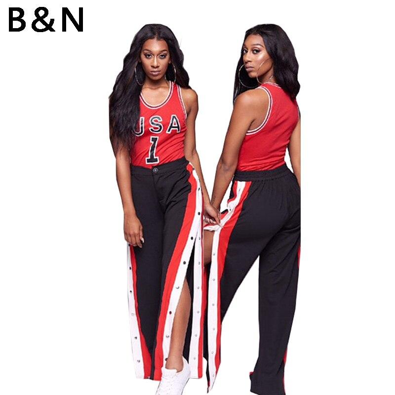 2018 NEW Women Cut off Split Side Long Pants Fashion Buttons Wide Leg Jogger Pants Fashion Casual Trousers