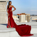 Red Velvet Evening dress 2017 Sweetheart Side Split Formal Mermaid Special Occasion Prom Gown vestido longo de festa EP64