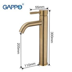Image 3 - GAPPO havza musluk fırçalanmış altın banyo musluk mikser paslanmaz çelik şelale musluk uzun banyo musluk batarya torneira