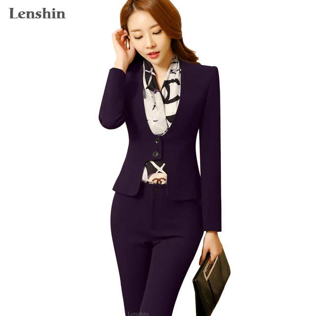 Aliexpress.com : Buy 2 piece Purple Pant Suits Formal Ladies ...