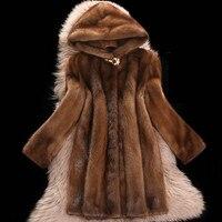 Искусственной норки пальто женский 2018 Новый Большие размеры 6XL средней длины зимние топы с капюшоном Для женщин утолщаются коричневый мех н...