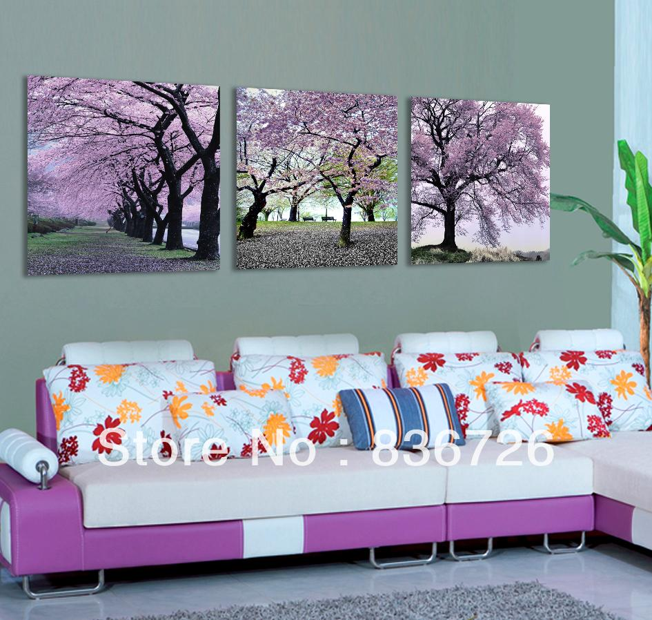 free shipping 3 piece canvas wall art flower wall canvas paintings purple flowers modern office. Black Bedroom Furniture Sets. Home Design Ideas