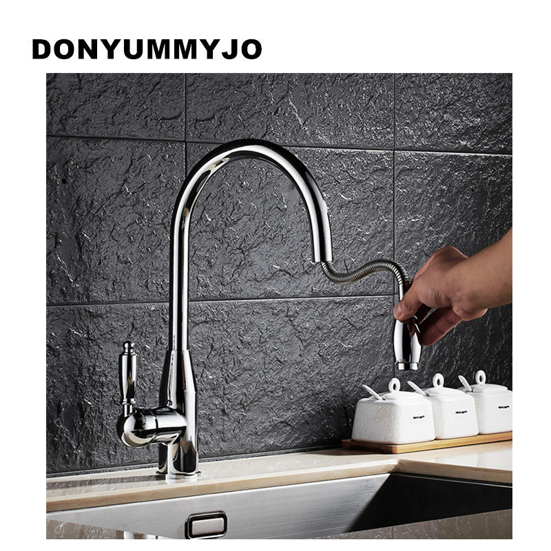 DONYUMMYJO Modern New chrome Kitchen Faucet Pull Out Single Handle Swivel Spout Vessel Sink Mixer Tap Hot and cold water new double handles free chrome brass water kitchen faucet swivel spout pull out vessel sink single handle mixer tap mf 279