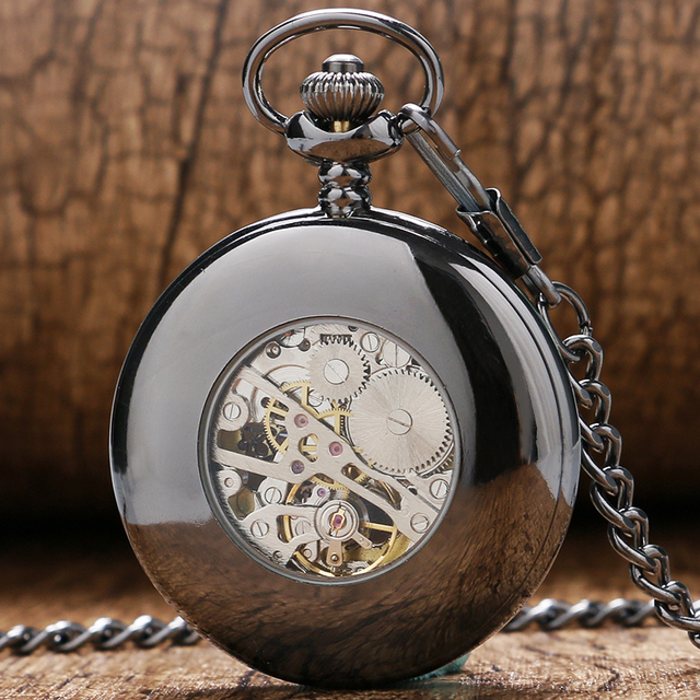 Classical Steampunk Black Smooth Case Hollow Mechanical Hand Wind Pocket Watch Royal Blue Skeleton Men Women Pendant Fob Chain