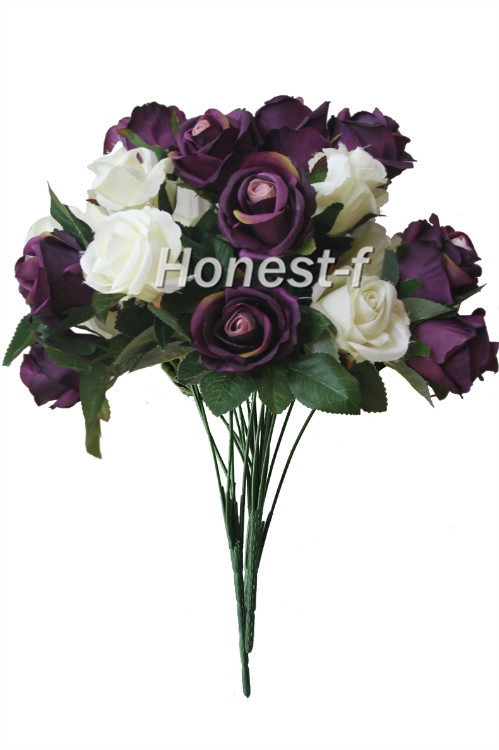Artificial Multi-Coloured Rose Silk <font><b>Flowers</b></font> Bounquet Mixed Arrangement, Home Hotel Room Wedding Decoration(White And Purple)