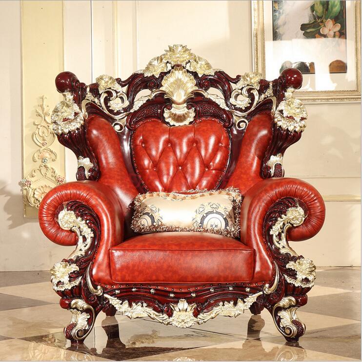 high quality  European  antique living room sofa furniture genuine leather set FS506 p10081 1