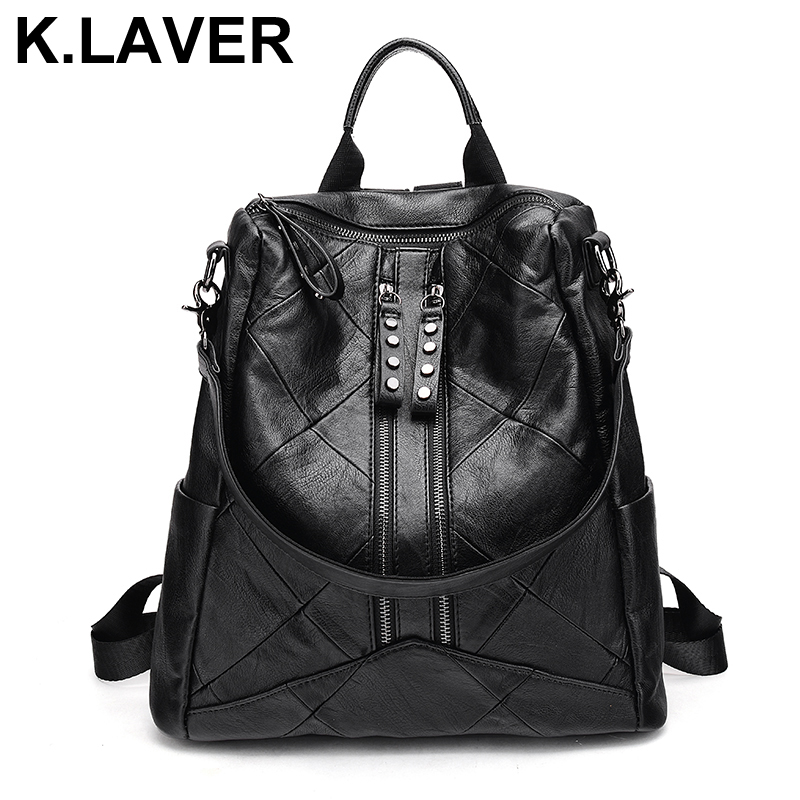 K.LAVER New Genuine Leather Cowhide Backpacks Women Fashion Bag Rucksacks School Patchwork Backpack For Girls Mochila Brand Bags cardamom fashion leather backpack women bags cowhide leather bagpack with colorful patchwork backpacks for women