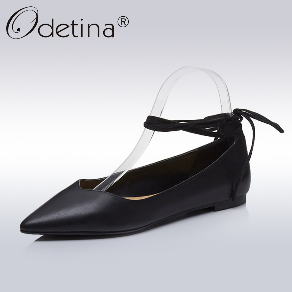 Odetina New Fashion Spring Genuine Leather Ankle Strap Ballet Flats For Women Pointed Toe Shoes Female Casual Lace Up Flat Shoes 2017 womens spring shoes casual flock pointed toe narrow band string bead ballet flats flat shoes cover heel women flats shoes