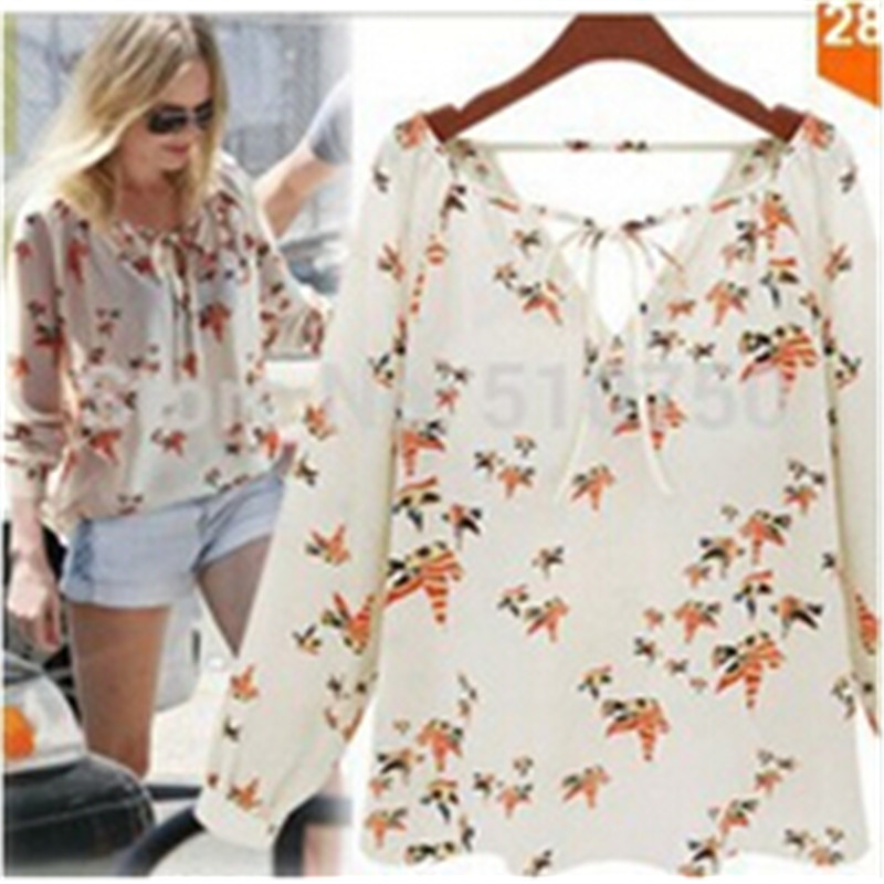 2015 New Women Blouses Butterfly Bird Print Blouse Long Sleeve Casual Slim Shirts blusas Femininas Camisas V-neck tops Blusas - honest fish's store