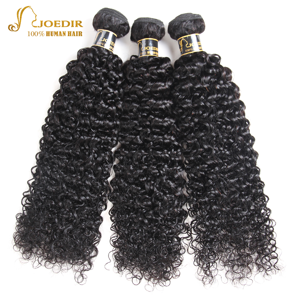 Joedir Hair Peruvian Kinky Curly Human Hair Weave 3 Bundles Natural Color Hair Extension Free Shipping 10-26 inch Wig Bundles