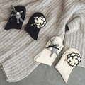 Calcetines Mujer Casual Sólidos Mulheres Venda Meias 2016 Meias Senhoras Pequeno Real Coelho Bonito Camélia de Lã Grossa Mulheres Curtas