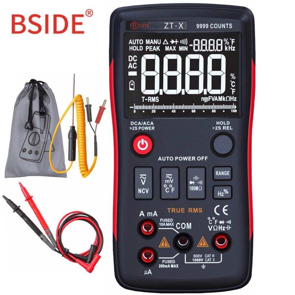 Multimetro digitale BSIDE ZT-X True-RMS 9999 Conti Multimetro DC/AC Voltmetro Amperometro Con Grafico a Barre Analogico Stesso come RM409B