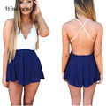 Mujer de encaje sexy cat backless mono hot looking combinaison femme shorts rojo azul mamelucos womens jumpsuit