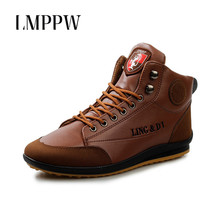 New 2018 Men Leather Boots Fashion Ankle Boots Autumn Cotton Shoes Warm Lace Up Men Flat Boots Male Footwear Classic Brand 2.5 стоимость