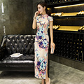 New Arrival Female Elegant Vintage Dress Chinese Women Summer Sexy Cheongsam Long Slim Qipao Flower Size S M L XL XXL