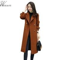 Wmwmnu Fashion Double Breasted Warm Winter Coat Women Green Long Coats High Quality Manteau Femme European