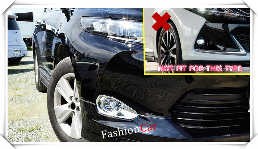 For Toyota Harrier 2013 2014 2015 2016 ABS Chrome Front Fog Light Surround Trim Cover 2pcs/set car styling