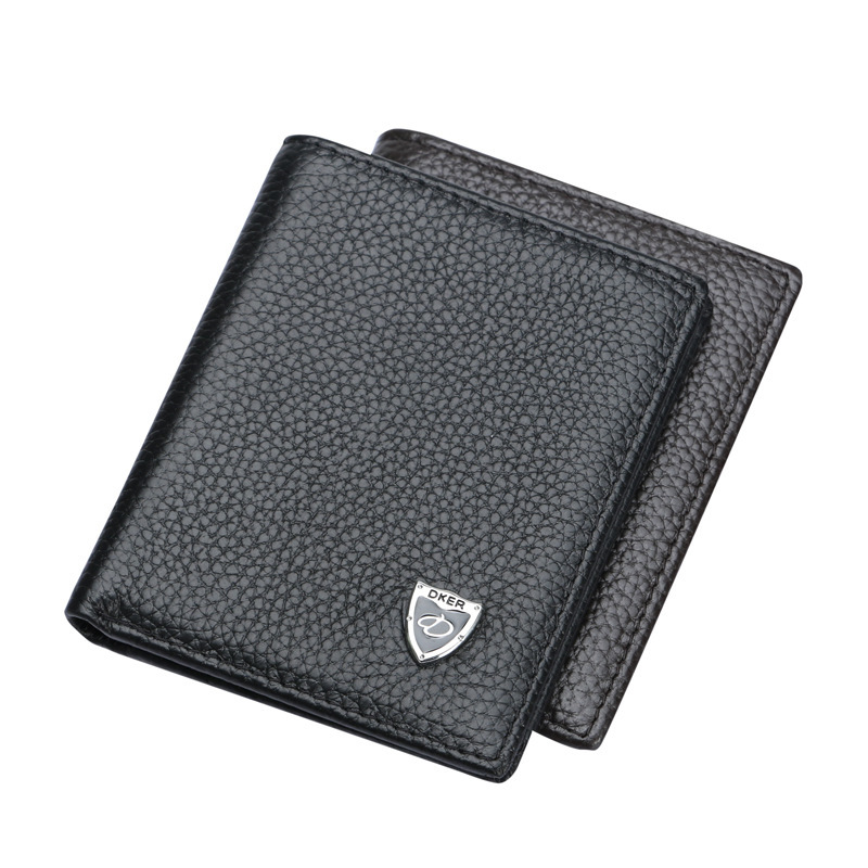 DKER Soft Genuine Leather Men Wallets Vertical Slim 2 Fold Open Casual Black Coffee Colors Photo Bit ID Credit Card Holder Purse