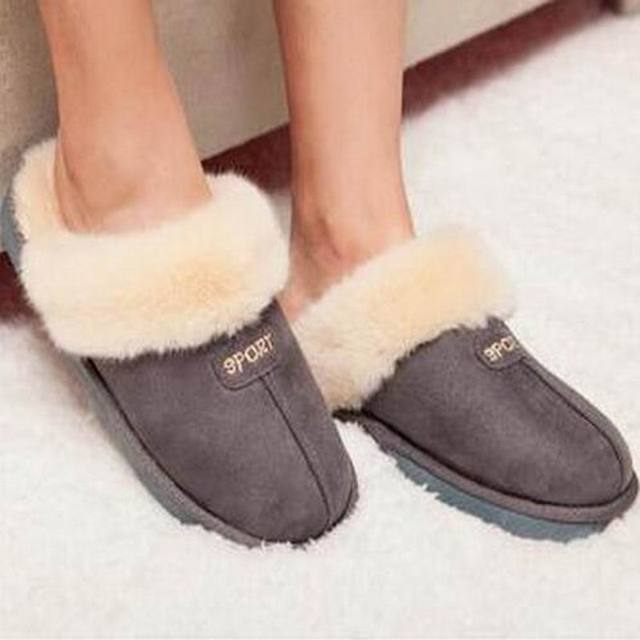 Plush Lovers Cotton-padded Slippers Winter Slippers Women and Men at Home  Warm Shoe slippers e68e47d056a9