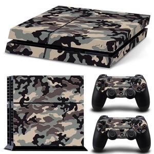 Image 4 - Camouflage Kunststoff Vinyl Haut Aufkleber Für Sony Playstation 4 Konsole mit 2 Controller Abdeckung Für PS4 Gamepad Joypad Aufkleber