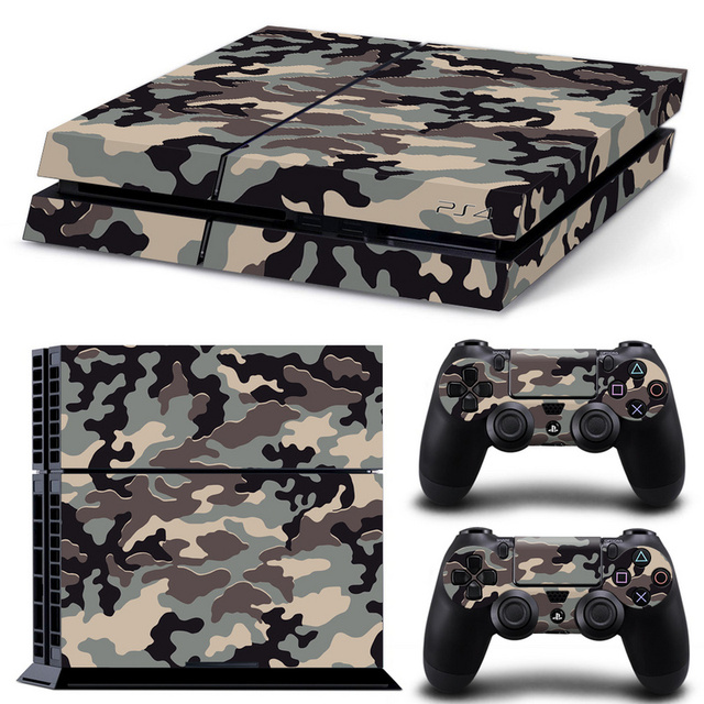 Camouflage Plastic Vinyl Skin Sticker For Sony Playstation 4 Console with 2 Controllers Cover For PS4 Gamepad Joypad Decal