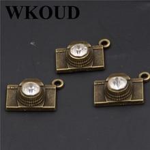 8pcs Antique  3D Handmade Rhinestone Camera Charm Necklace Bracelet DIY Metal Jewelry findings A192